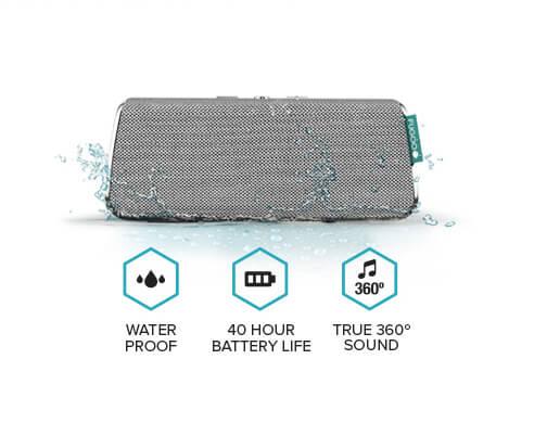Speaker, water drops, waterproof, battery, 40 hour battery life, musical note, 360 degree, true 360 degree sound