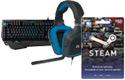 Gaming keyboard, gaming headset, game download card