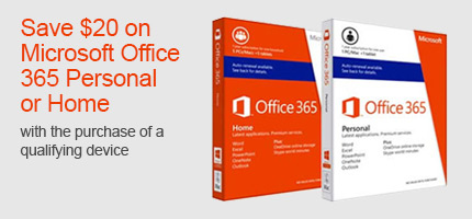 Save $20 on Microsoft Office 365 Personal or Home with the purchase of a qualifying device.