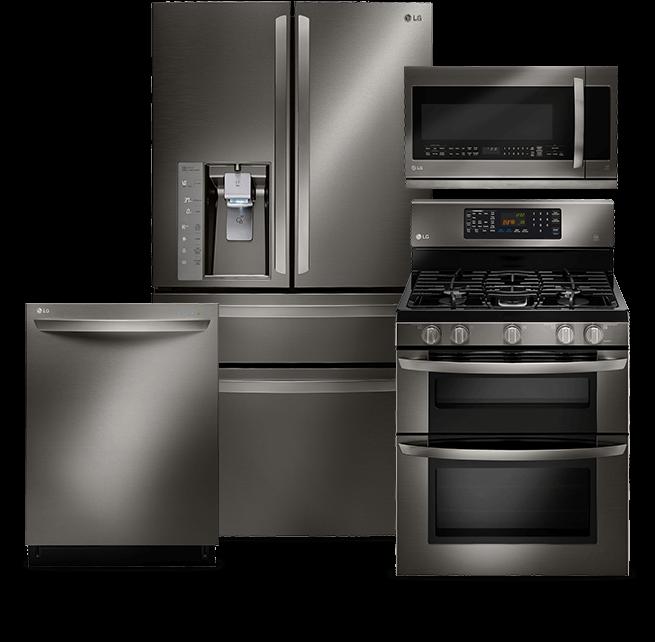 Dishwasher, refrigerator, microwave, range