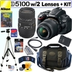 Nikon - D5100 16.2MP CMOS Digital SLR Camera with 18-55mm f/3.5-5.6 AF-S DX VR Nikkor Zoom Lens and Si