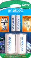 eneloop - AA-to-D Battery Converter Spacer Kit - White