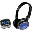 Coby - CV215BLU Folding Deep Bass Headphones/Isolation Jammerz Earphones Combo - Blue