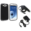 eForCity - Jelly TPU Case and Travel/Wall Charger and Car Charger Bundle for Galaxy® S3 SIII i9300