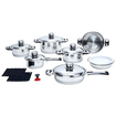 B&F System - Chef's Secret 16pc 7-Ply, High-Quality, Heavy-Gauge Cookware Set - Stainless Steel - Stainless Steel