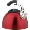 Primula - Soft Grip Brushed Stainless Steel Tea Kettle 3.0 Quart - Black, Red, Shiny Silver - Black, Red, Shiny Silver
