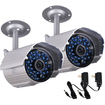 VideoSecu - 2 Infrared Day Night Vision Weatherproof 520TVL Security Camera with Powers BNN - Silver