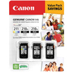 Canon - 2 x PG-210XL Black & 1 x CL-211 Color Ink Cartridge for Canon PIXMA Printers - MP240, MP480, MX330