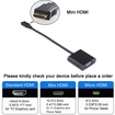 AGPtek - 19 Pin Mini HDMI to Monitors Projectors VGA Cable Adapter 1080P for Laptop PC - Black