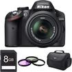 Nikon - D3200 DX-format Digital SLR Kit w/ 18-55mm DX VR Zoom Lens Pro Kit (Black)