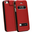 GreatShield - Flip Genuine Leather Case for Apple iPhone® 5 / 5s (Swipe to Unlock & Time Cutouts) - Red - Red