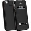 GreatShield - Flip Genuine Leather Case for Apple iPhone® 5 / 5s (Swipe to Unlock & Time Cutouts) - Black - Black