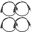 Seismic Audio - 4 Pack 1/8 (3.55mm) 18 Extender Patch Cables for iPod iPhone iPad Android MP3 - Black - Black