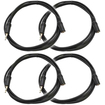 Seismic Audio - 4 Pack 1/8 (3.55mm) 6' Extender Patch Cables for iPod iPhone iPad Android MP3 - Black - Black