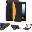 GreatShield - Wireless Bluetooth Keyboard Leather Case Cover for Apple iPad mini - Black, Orange