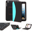 GreatShield - Wireless Bluetooth Keyboard Leather Case Cover for Apple iPad mini - Black, Sky Blue