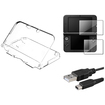 eForCity - Crystal Case and LCD Screen Film and USB Charging Cable Bundle for Nintendo 3DS XL