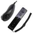 Black Jack - Remote for Nintendo Wii / Wii U w/ Motion Plus Adapter Built in + Nunchuck and Free Wrist Strap