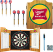 Trademark Games - Miller High Life Dart Cabinet Set - Brown