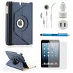 DrHotDeal - 5-in-1 Rotating Case Screen Guard Stylus Earphone Car Charger Accessories Bundle for iPad Mini