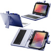 Fosmon - 10 inch Tablet Stand with USB Keyboard - Leather Carrying Case - Blue