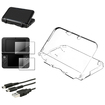 eForCity - Crystal + Rubber Case + 2-LCD Film + 2in1 USB Charging Cable For Nintendo 3DS XL