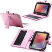 Fosmon - 10 inch Tablet Stand with USB Keyboard - Leather Carrying Case - Pink