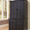 Home Styles - Arts and Crafts Compact Computer Armoire with Hutch - Black