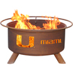 Patina Products - 31 Inch University of Miami Fire Pit - Natural Rust - Natural Rust