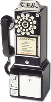 Crosley - Corded 1950s Classic Pay Phone - Black - Black