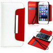 DrHotDeal - Wallet PU Leather Card Holder Magnetic Flip Cover Case for Apple® iPhone® 5 / 5s - Red, White