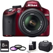 Nikon - D3200 DX-format Digital SLR Kit w/ 18-55mm DX VR Zoom Lens Pro Kit (Red)