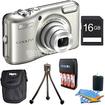 Nikon - COOLPIX L28 20.1 MP 5x Zoom Digital Camera Silver Plus 16GB Memory Kit