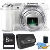 Olympus - STYLUS SZ-16 iHS16MP 24x wide/48x SR Zoom 1080p HD 3 Hi-Res LCD White 8 GB Kit