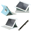 DrHotDeal - Light Blue 360 Rotating 2 Layer PU Leather Case Smart Cover Swivel Stand for iPad 2 3 4+Stylus Combo