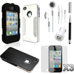 DrHotDeal - iPhone 4 4G 4S Accessories Luxury Combo: Back Cover Cases + Stylus + Earphones + Screen Protector