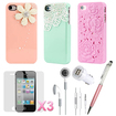 DrHotDeal - iPhone 4 4G 4S Accessories Flower Lace Pearl Combo:Back Cover+Stylus+Earphones+Screen Protector