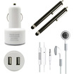 DrHotDeal - 4 in 1 Dual Port USB Car Charger Earphone with Remote & Mic 2 Capacitive Stylus Accessories Bundle