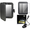 eForCity - Leather Case and Guard and eBook Travel Light Bundle for Nook 2 Simple Touch/Glowlight - Black