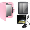 eForCity - Leather Case and LCD Guard and eBook Travel Light Bundle for Nook 2 Simple Touch/GlowLight - Pink