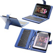 Fosmon - 7 inch Tablet Stand with USB Keyboard - Leather Carrying Case