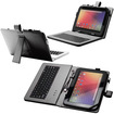 Fosmon - 10 inch Tablet Stand with USB Keyboard - Leather Carrying Case - Black