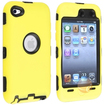eForCity - Hybrid Case compatible with Apple iPod touch 4th Generation, Black Hard/ Yellow Skin