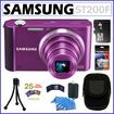Samsung - Bundle EC-ST200FBPLUS ST200F Smart 16MP 10X Wide WI-Fi Camera