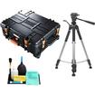 Vanguard - Supreme 53F Waterproof Professional Case w/ Foam Interior + Tripod for Digital SLR Cameras