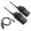 Image Entertainment - 2 Packs Walkie Talkie 3W 16CH FRS/GMRS Two-Way Rechargeable Radio w/ USB Programming Cable - Black - Black