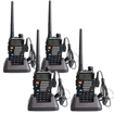 Image Entertainment - 4-pack BaoFeng Model UV-5RE 136-174/400-480 MHz Dual Band FM Two Way Radio + Free earpiece - Black
