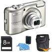 Nikon - COOLPIX L28 20.1 MP 5x Zoom Digital Camera Silver Plus 8GB Memory Kit