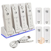 eForCity - 4 Port Charging Station with 4 Rechargeable Battery for Nintendo Wii Remote Control