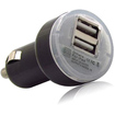 Fosmon - Dual-Port USB Car Charger for USB Devices Such as iPods, iPhones, iPads, Cell Phones - Black - Black